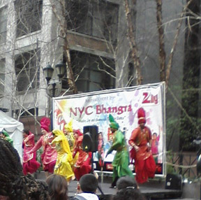 Dancers at the Holi Hai Festival in New York City, 2012