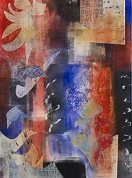 Dispatch from Omega Centauri, Kathleen Thoma, monotype & collage, 11x14 in
