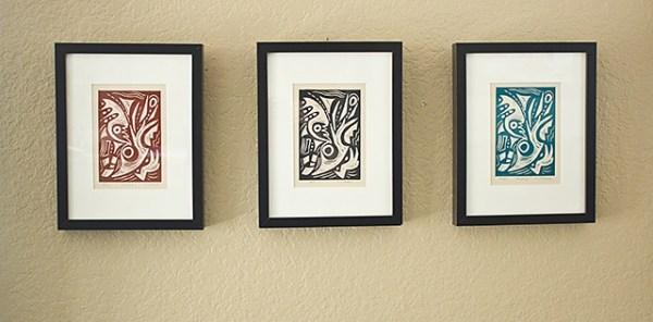 Matrix, Kathleen Thoma, relief print, 4x6 in, framed
