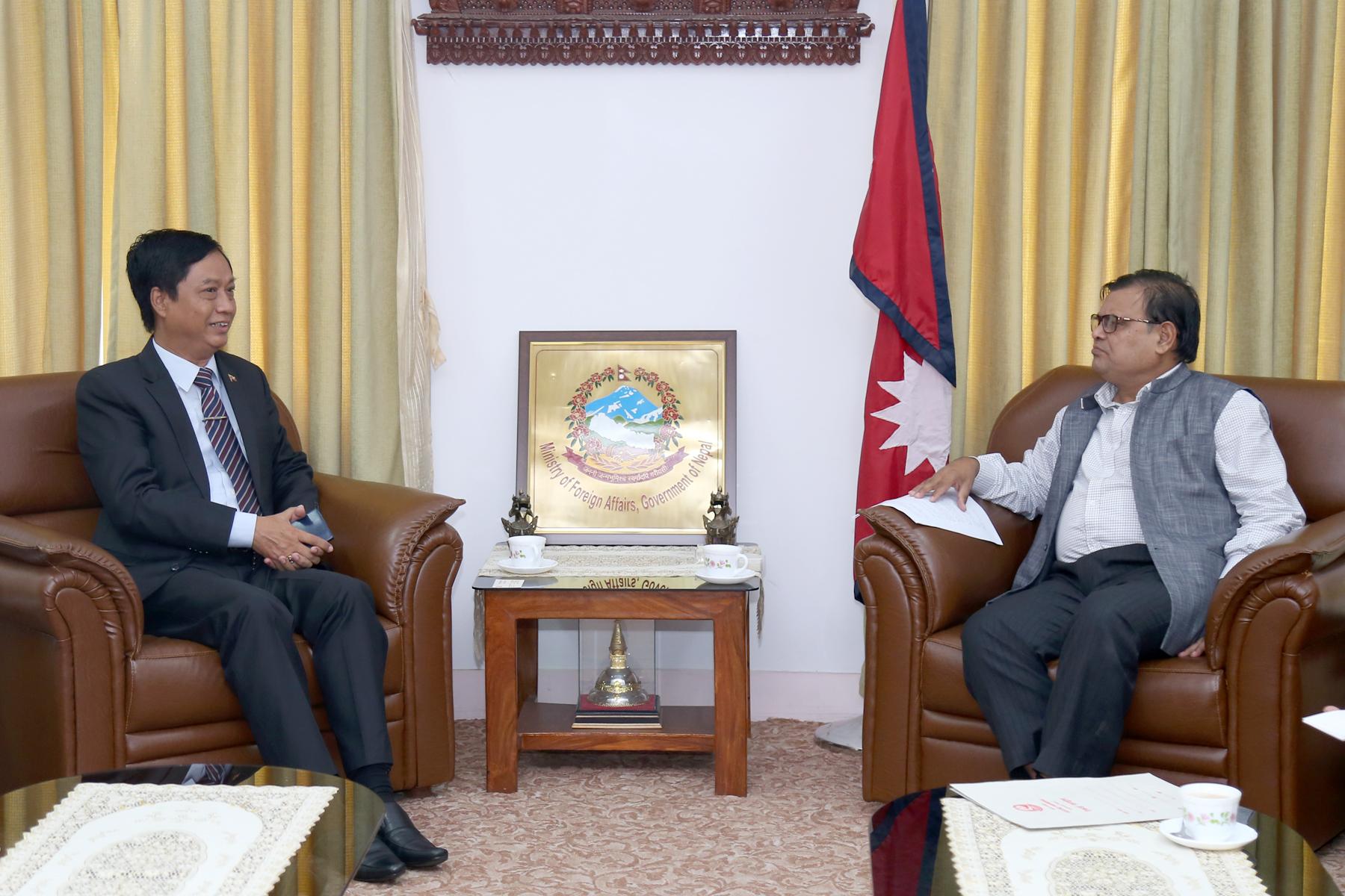 Ambassador of Myanmar to Nepal Lwin Oo calls on DPM Krishna