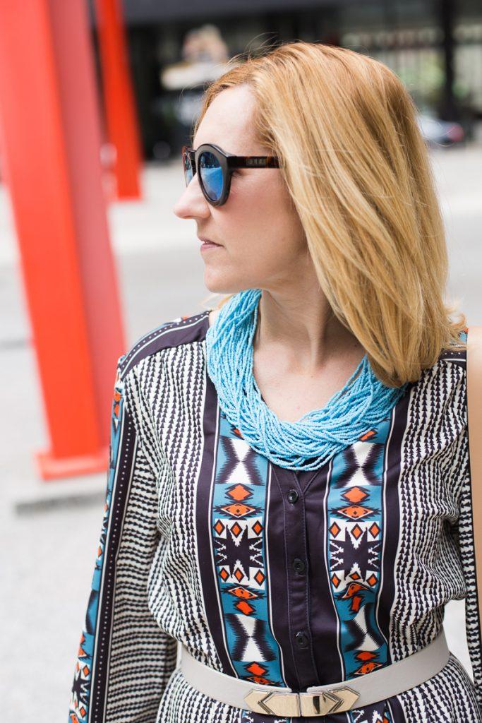 Powder Blue Bali Bead Statement Necklace - Kathrine Eldridge, Wardrobe Stylist