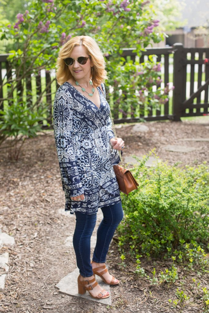 A blue boho dress with dramatic bell sleeves.