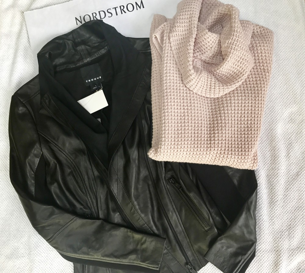 Trouve leather jacket and Two by Vince Camuto cowl neck sweater from Nordstrom Anniversary Sale 2017