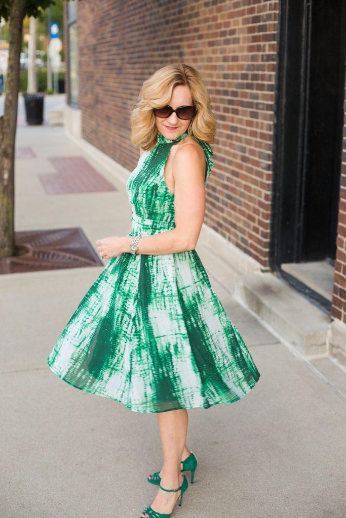 Green Printed Dress by eShakti