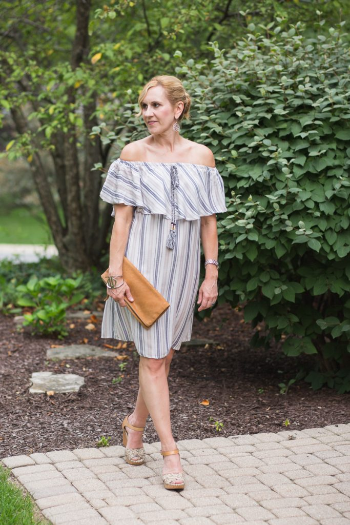Striped off the shoulder dress by Venus
