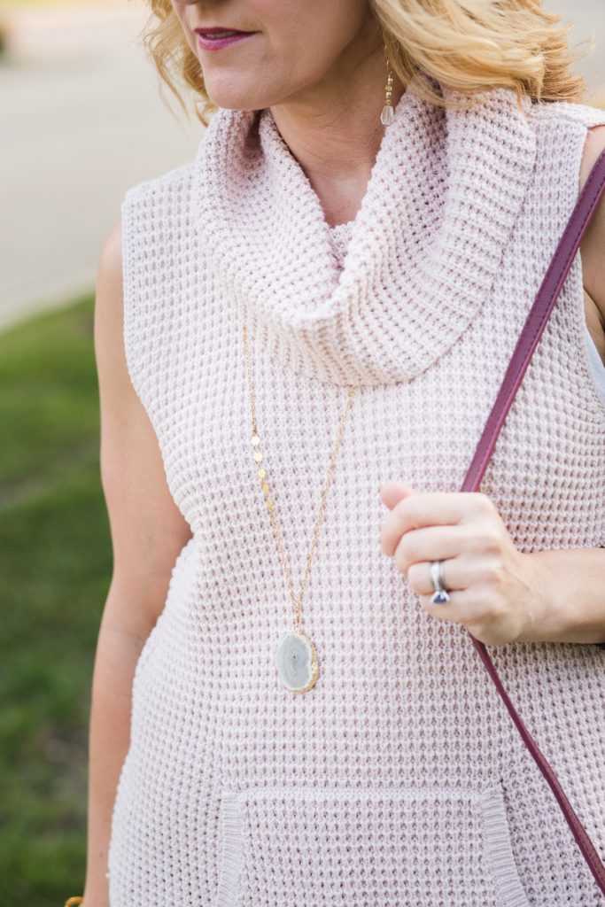 Pink Sweater Vest with Agate Pendant from Starfish Project