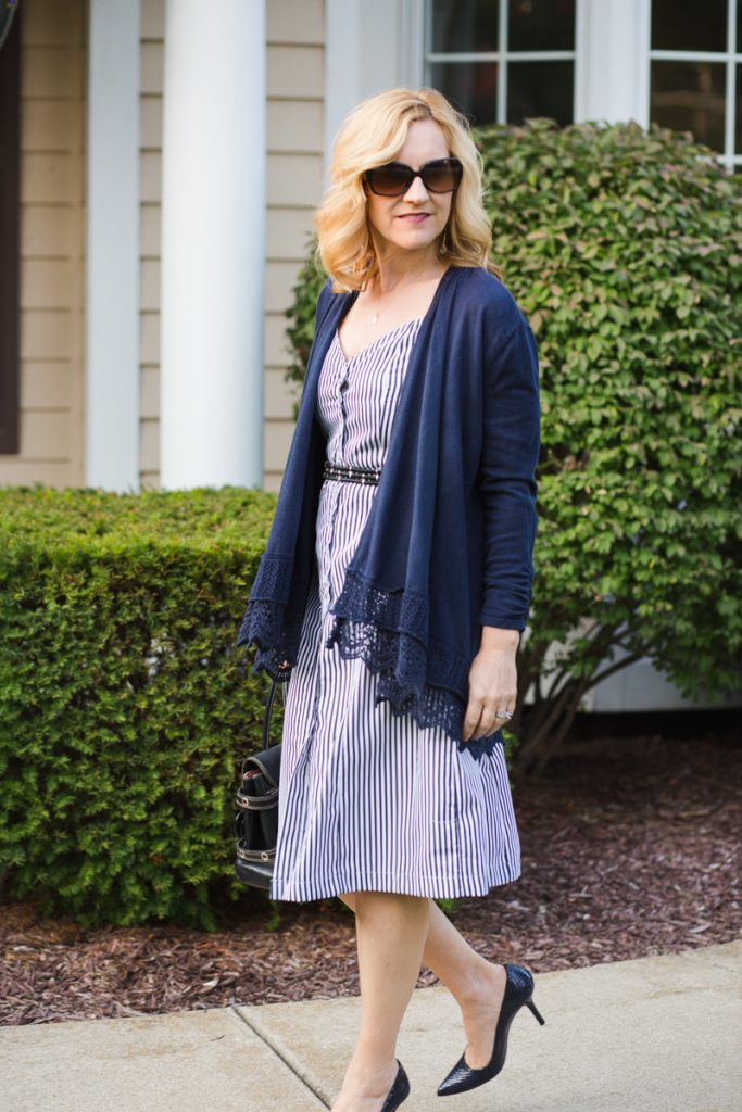 Transition your Summer Dress to Fall - Navy Cardigan with Striped Dress