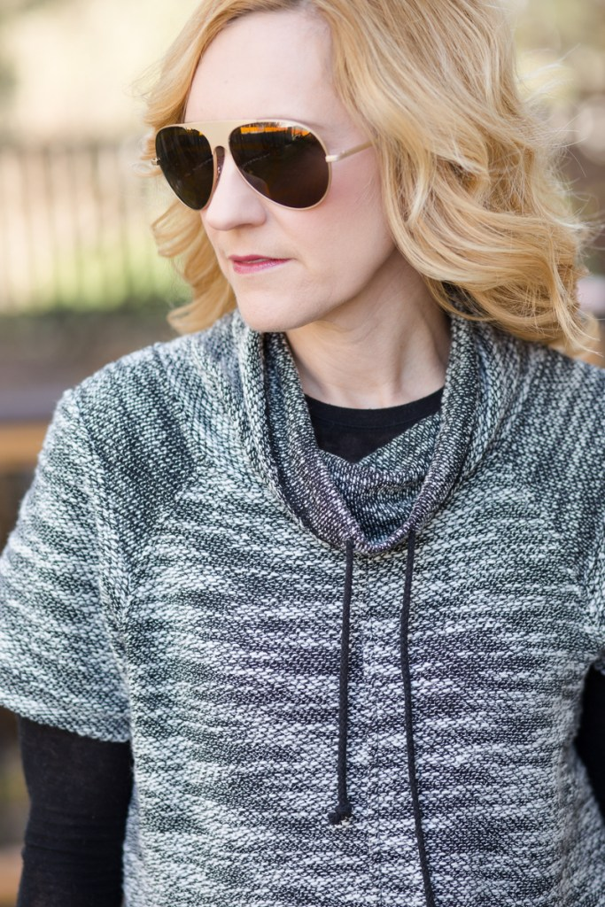 Cowl Neck Sweater paired with Vuliwear sunglasses