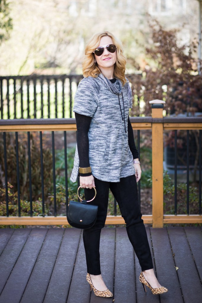 Cowl Neck Sweater with Suede Leggings and Leopard Pumps