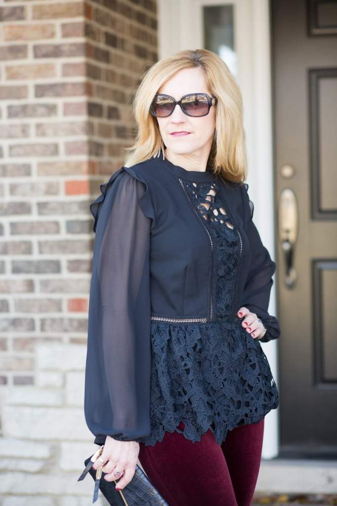 Sheer Long Sleeved Peplum Top by Kensie