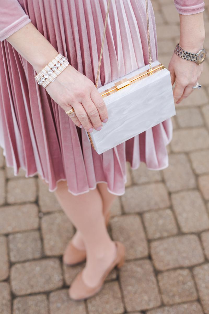 Pink Pleated Dress with White Box Clutch by Rachel Zoe