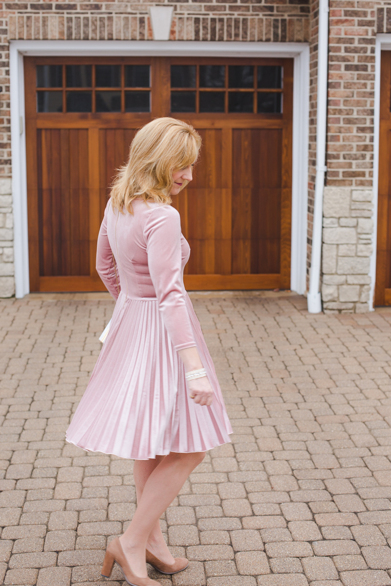 Pink Velvet Fit and Flare Skater Dress by Closet London