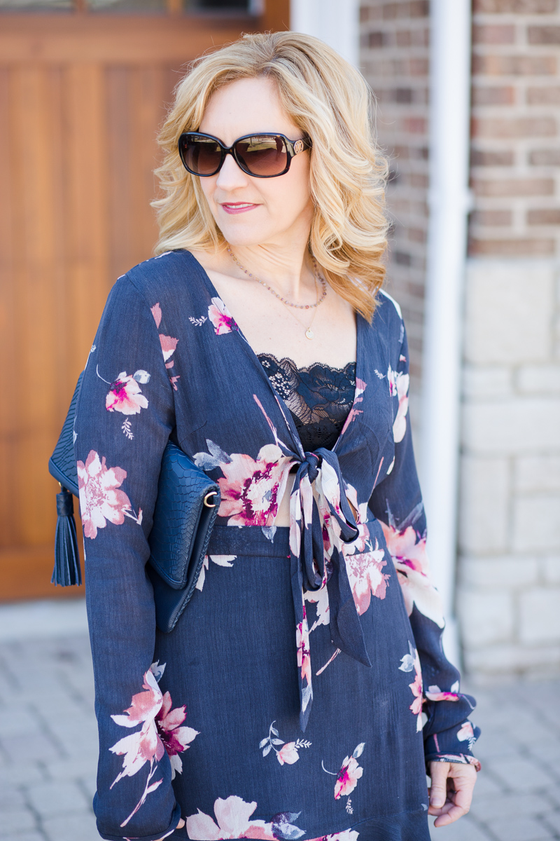 Long Sleeved Floral Mini Dress for Spring