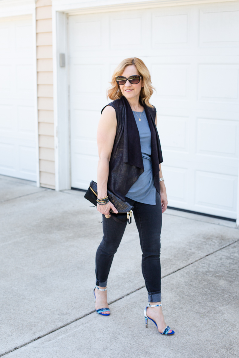 Black Waterfall Leather Vest with Blue Tank and Black Skinny Jeans