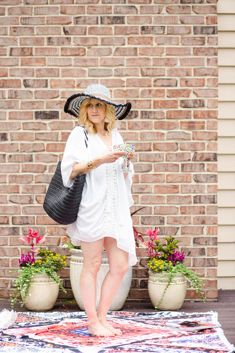 Bindya Coverup with Rachel Zoe Tote and Steve Madden Sun Hat