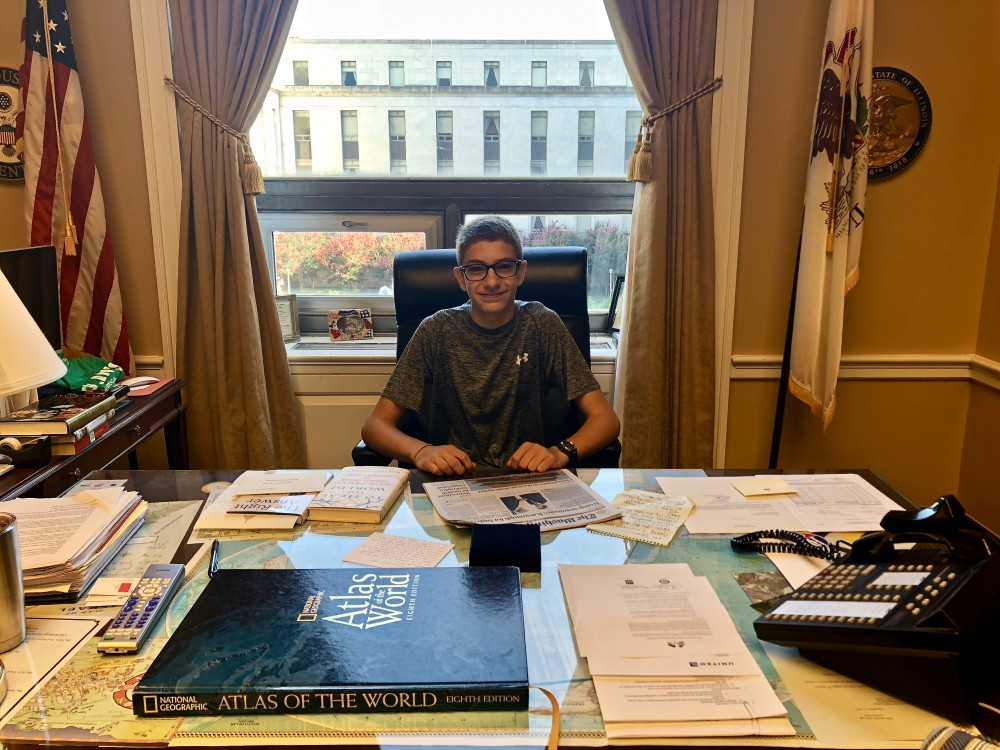 My son at State of Illinois Representative's Desk