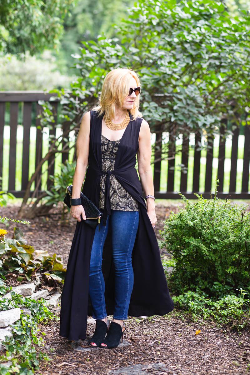 Black Longline Vest with Snakeskin Printed Camisole