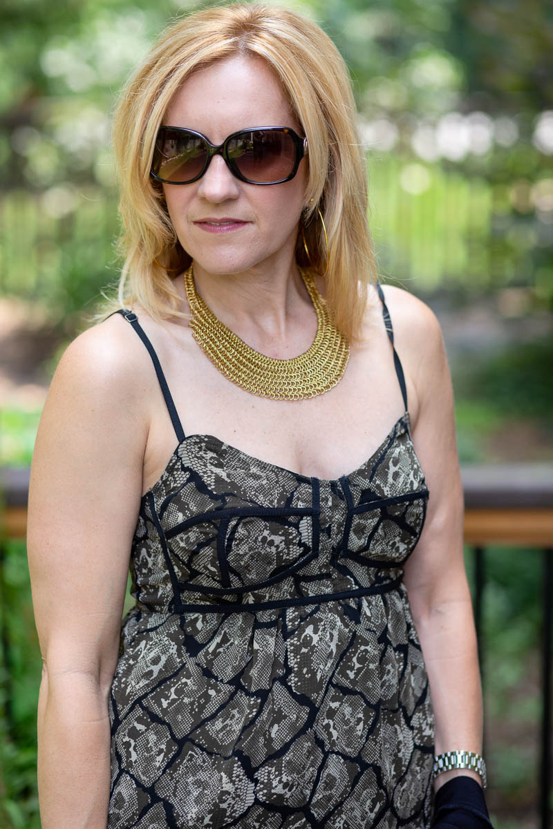 PJK Snakeskin Printed Corset Camisole with Gold Statement Necklace