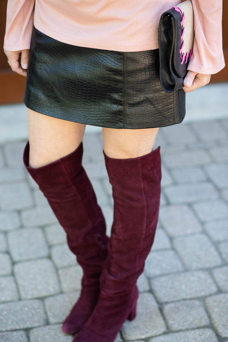 Burgundy Over the Knee Boots with a Faux Croc Black Mini Skirt