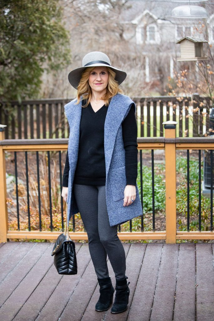 Black and blue layered look for winter.