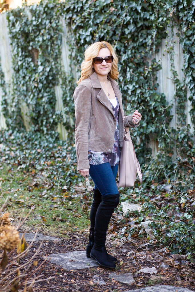 Mixing florals and suede for a chic winter look.