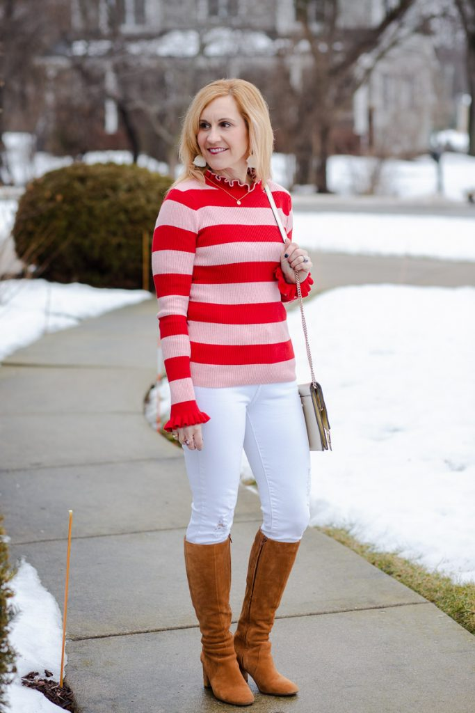 A Valentine's Day casual look featuring a striped top by Scotch & Soda