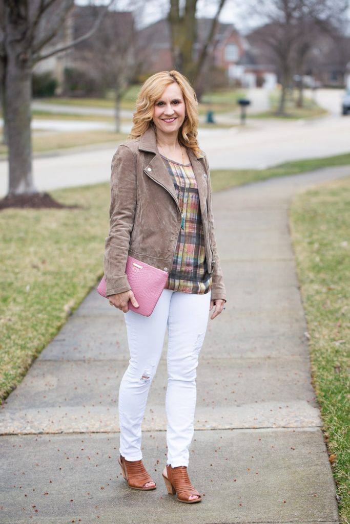 Pairing Spring neutrals with a pop of pink.