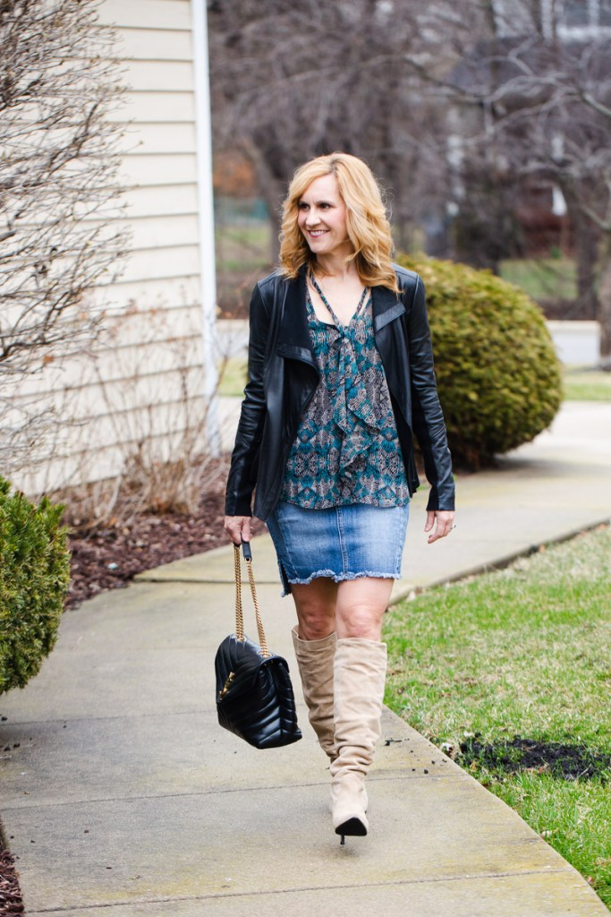 Mixing leather and suede in a chic Spring outfit.