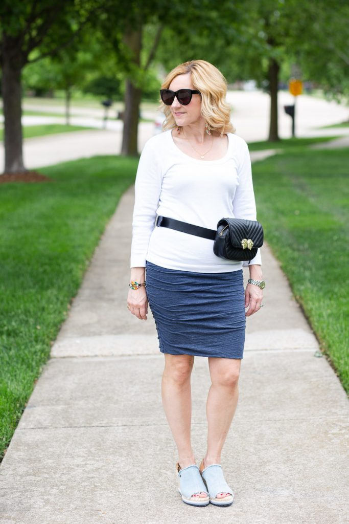 My summer uniform featuring a white tee, cotton pencil skirt, and wedges.