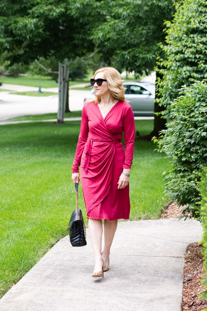 The perfect workwear look for summer which features a lightweight wrap dress.