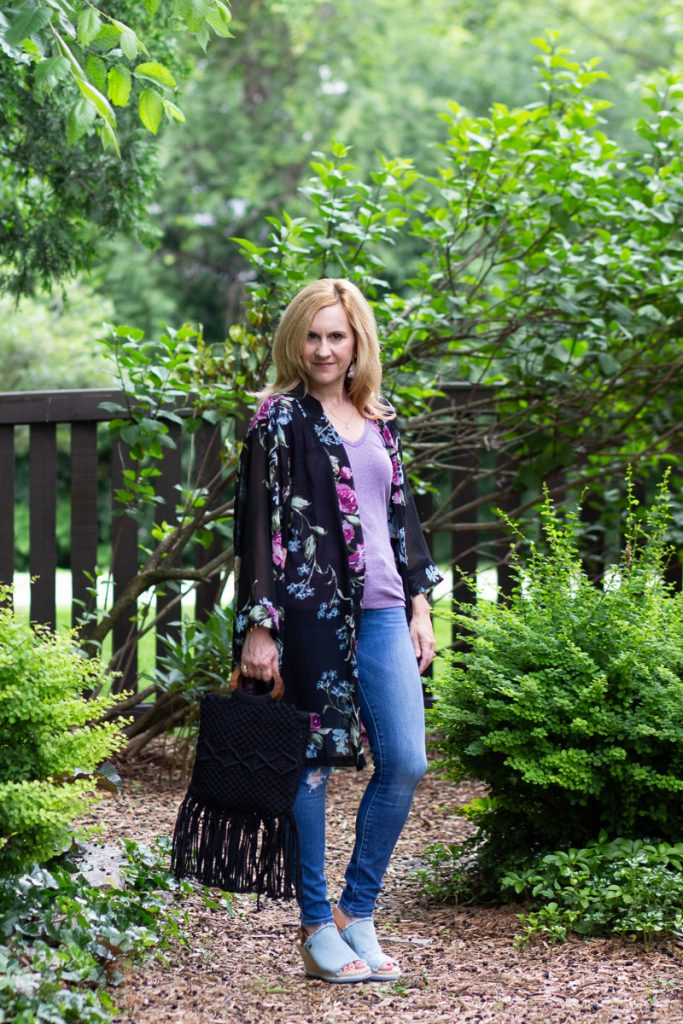 Adding a floral kimono to dress up tee and jeans.