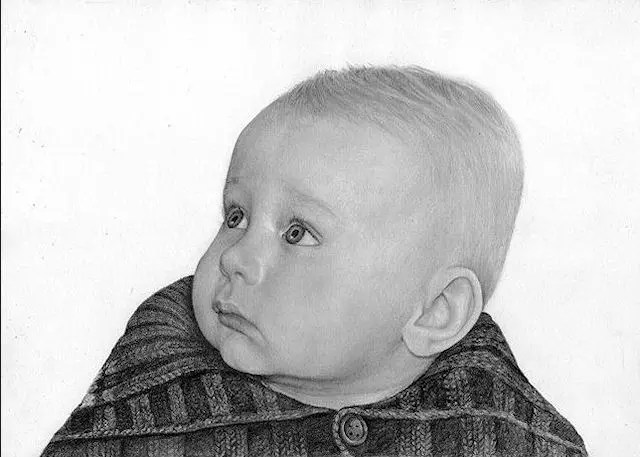 Infant drawing by Kathrin Guenther, graphite drawing, portrait drawing