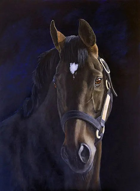 Yeats, stallion painting by Kathrin Guenther, acrylic painting, equine art