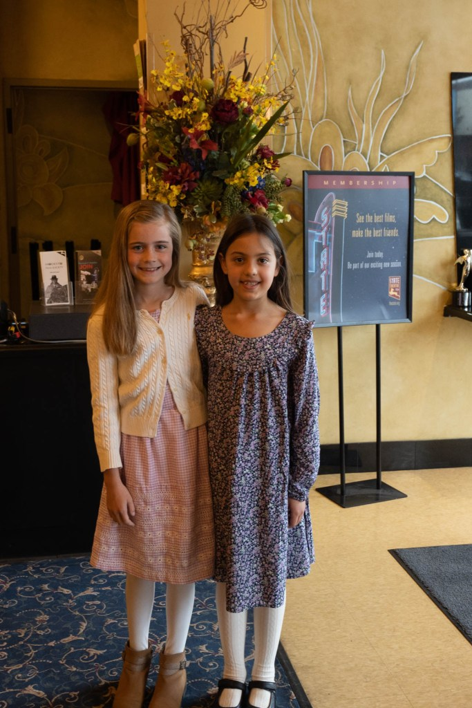 Photo of two nine-year-olds at the State Theater, Modesto