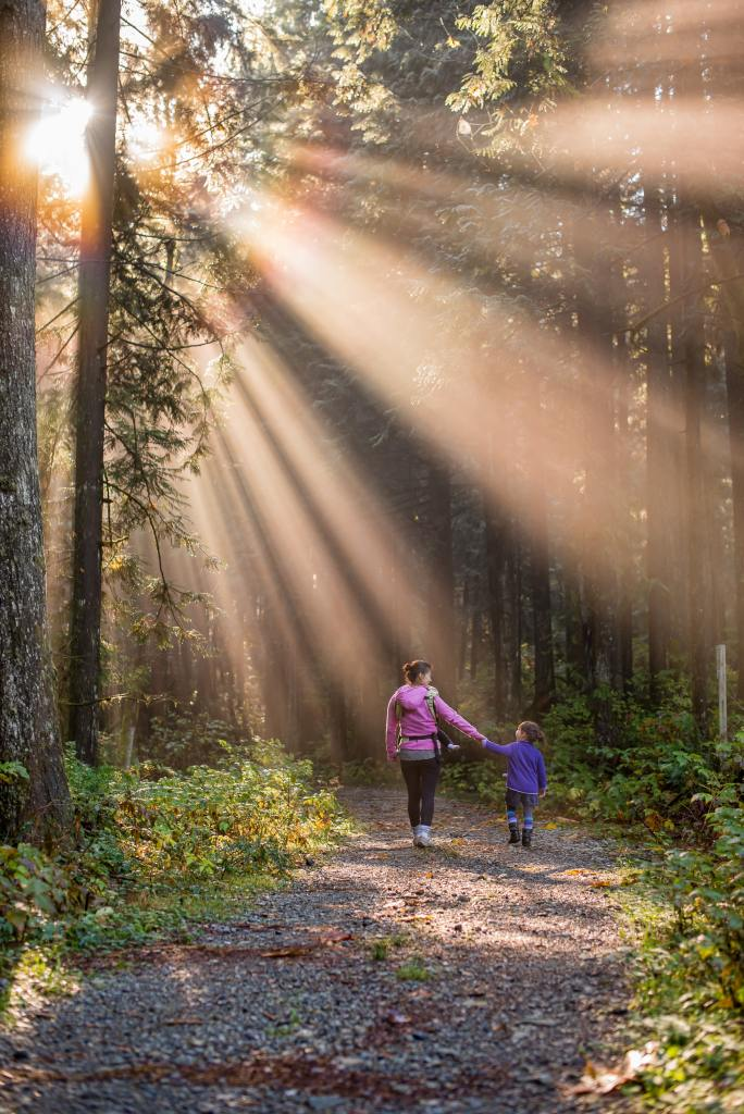 Mother walking with child in the forest. A routine grounded in real life allows for unexpected blessings if we are open to it.