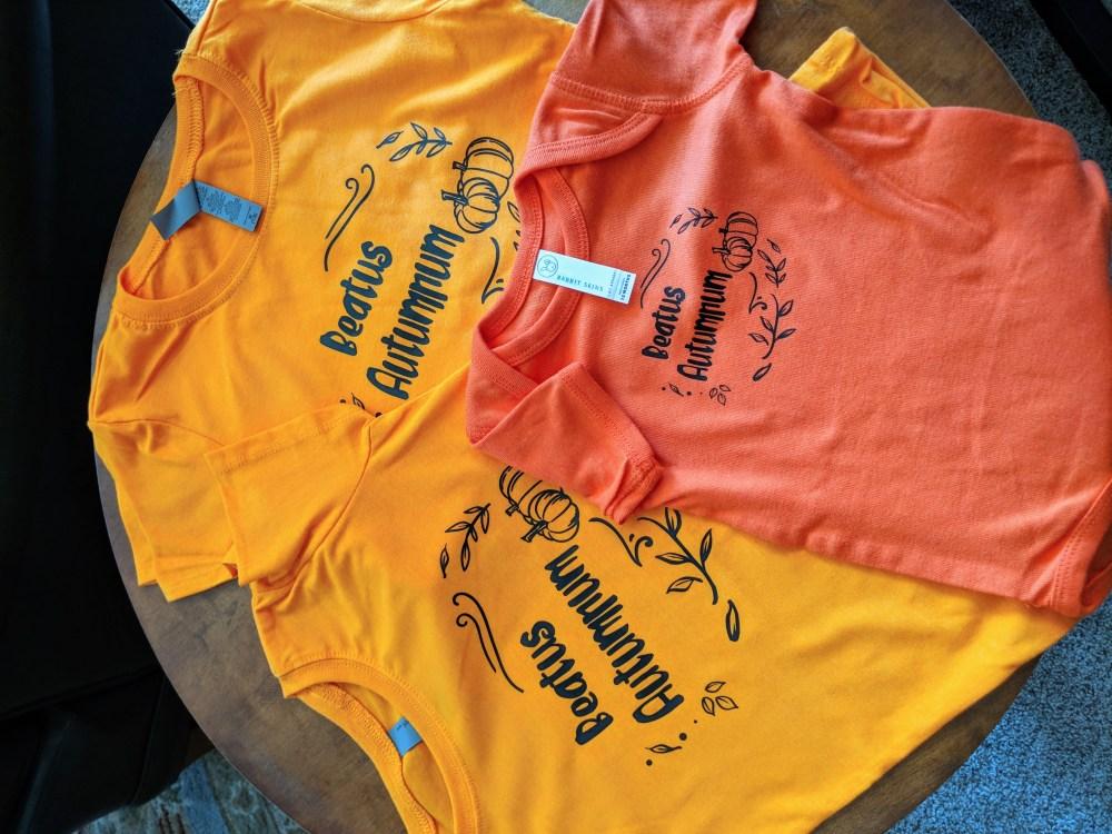 "Festive fall shirts that read ""Beatus Autumnum"""