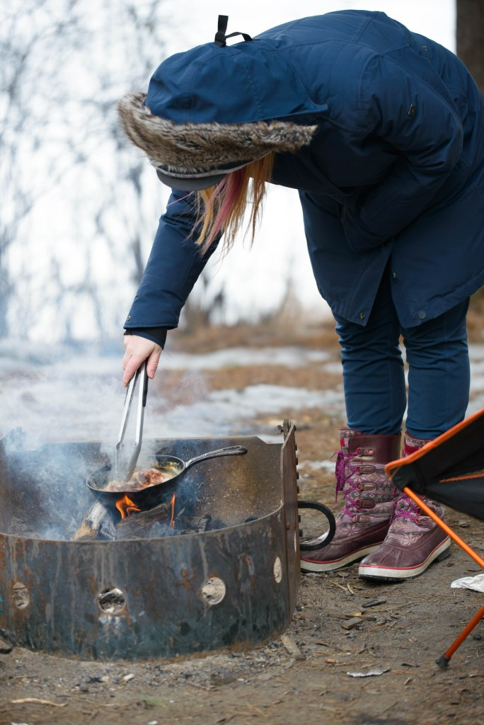 cooking bacon while camping