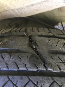 slashed tire on ford escape
