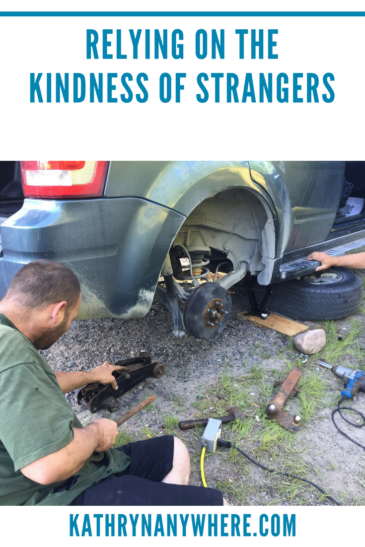 Relying on the Kindness of Strangers, blowing a tire on a road trip #solotravel #roadtrip #kindfolks #ontariotravel #bancroft #nicepeopleinbancroft #kindnessofstrangers #fordescape #mechanics