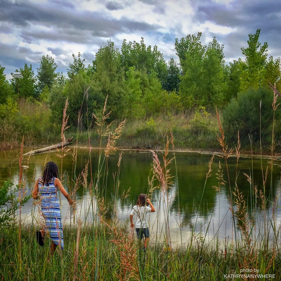 Toronto kids looking for frogs in wetland