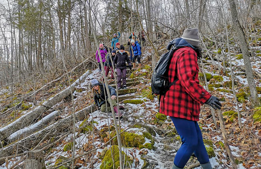 Icy hiking terrain, I fell - Photo by Melissa Ponte at Silvercreek Conservation area #silvercreekconservationarea #brucetrail #womenwhoexplore #womenwhoexploreontario #discoveron  #ontarioforyou  #girloutdoor #girlsthatwander  #hikingculture #gogalavanting  #girlswhohike