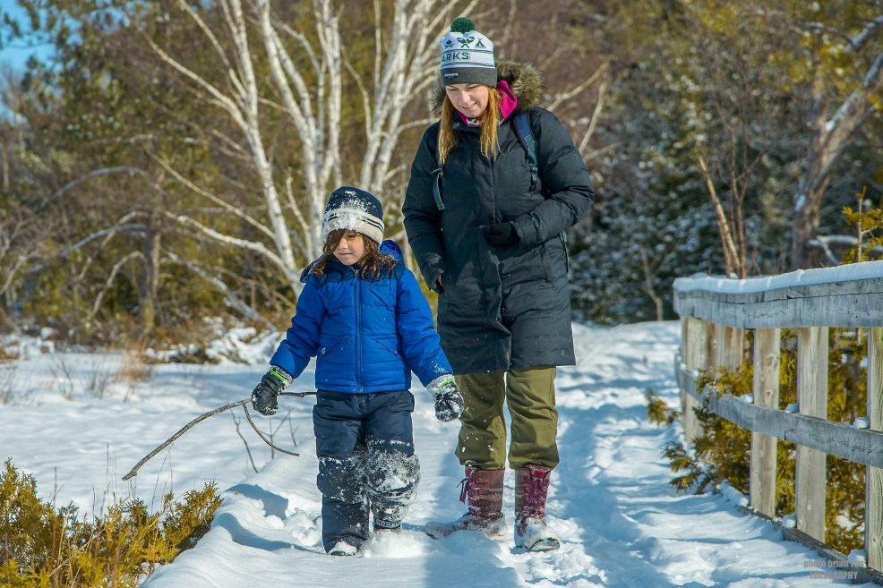 Little Man and I walking on Old Shore Road Trail at MacGregor Point Provincial Park in February #findyourselfhere #macgregorpointprovincialpark #macgregorpoint #macgregorpp #ontarioparks #yurtcamping #wintercamping #outdoors #adventureparenting #portelgin #brucepeninsula PHOTO BY BRIAN TAO, LUXOGRAPHY 2019