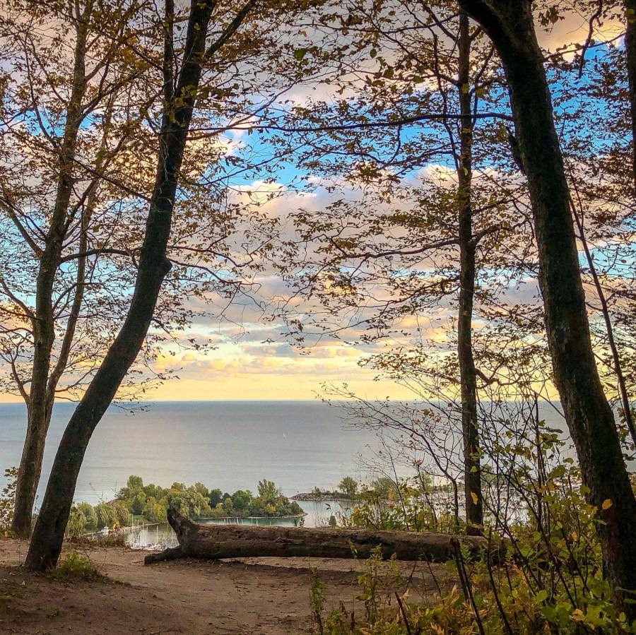 View from Scarborough Bluffs, Toronto Ontario. Unique places to explore in Ontario #autumncolours #fallfoliage #curiocitytoronto #visualizetoronto #scarboroughbluffs #scarborough #scarboroughontario #torontoviews #canadiancreatives #imagesofcanada #viewsfordays #cliffside #exploreontario #kathrynanywhere