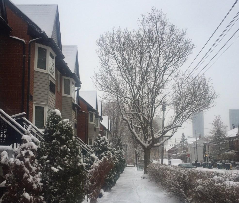 Winter sidewalk in Toronto