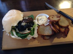 Mushroom & Pear Burger with tripple cooked chips ...yum!