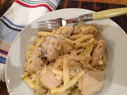 Dinner time - Chicken, artichoke & green olive sauce.