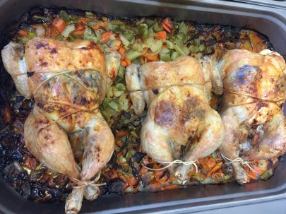 Roasted Chicken on bed of mirepoix vegetable