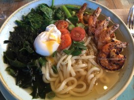 Udon soup with BBQ Tiger Prawns - The Pool Cafe Maroubra