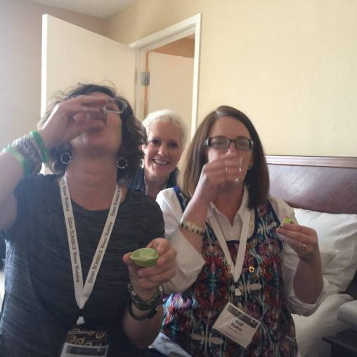 Kate Mayer and distinguished writers networking at #2016EBWW