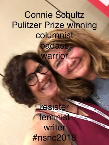 Kate Mayer selfie w big time writer/thinker/doer Connie Schultz
